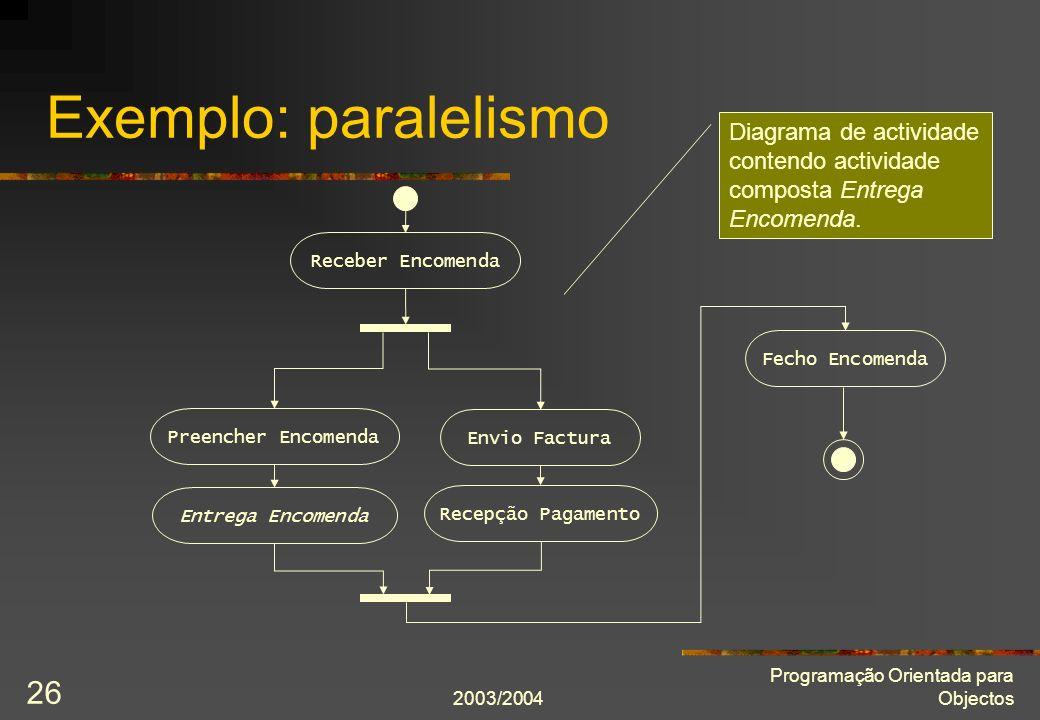 Exemplo: paralelismo Diagrama de actividade contendo actividade composta Entrega Encomenda. Receber Encomenda.
