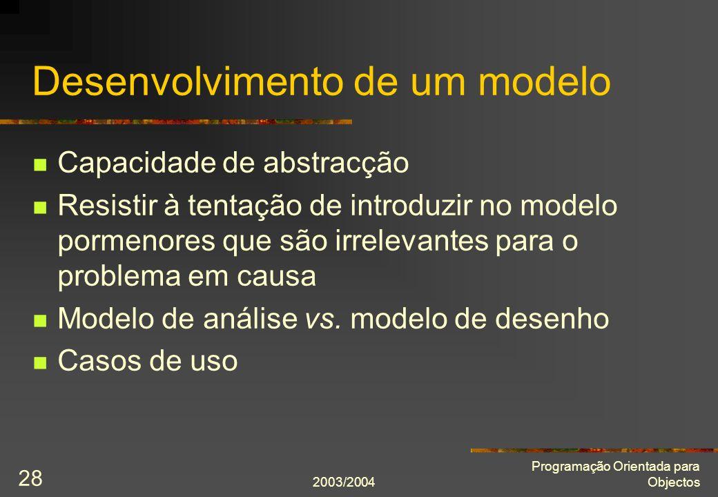 Desenvolvimento de um modelo