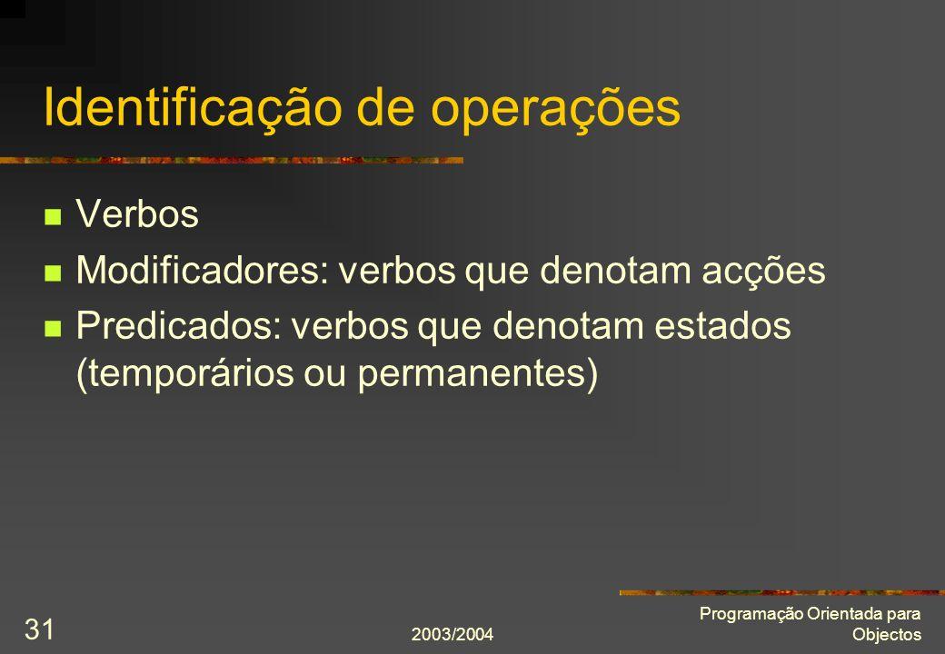 Identificação de operações