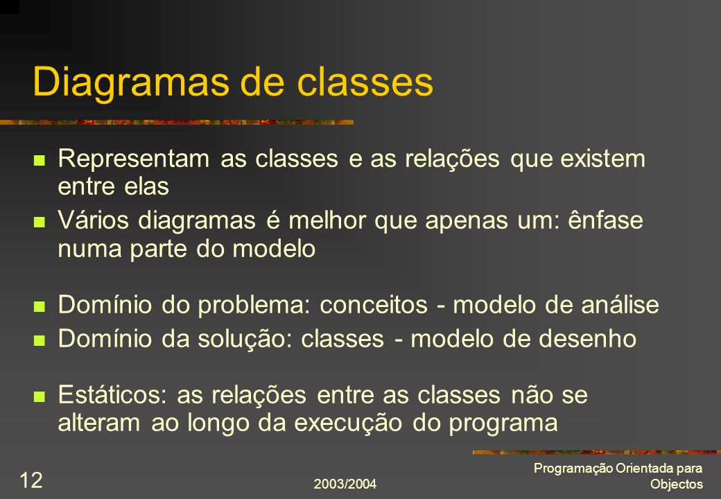 Diagramas de classes Representam as classes e as relações que existem entre elas.