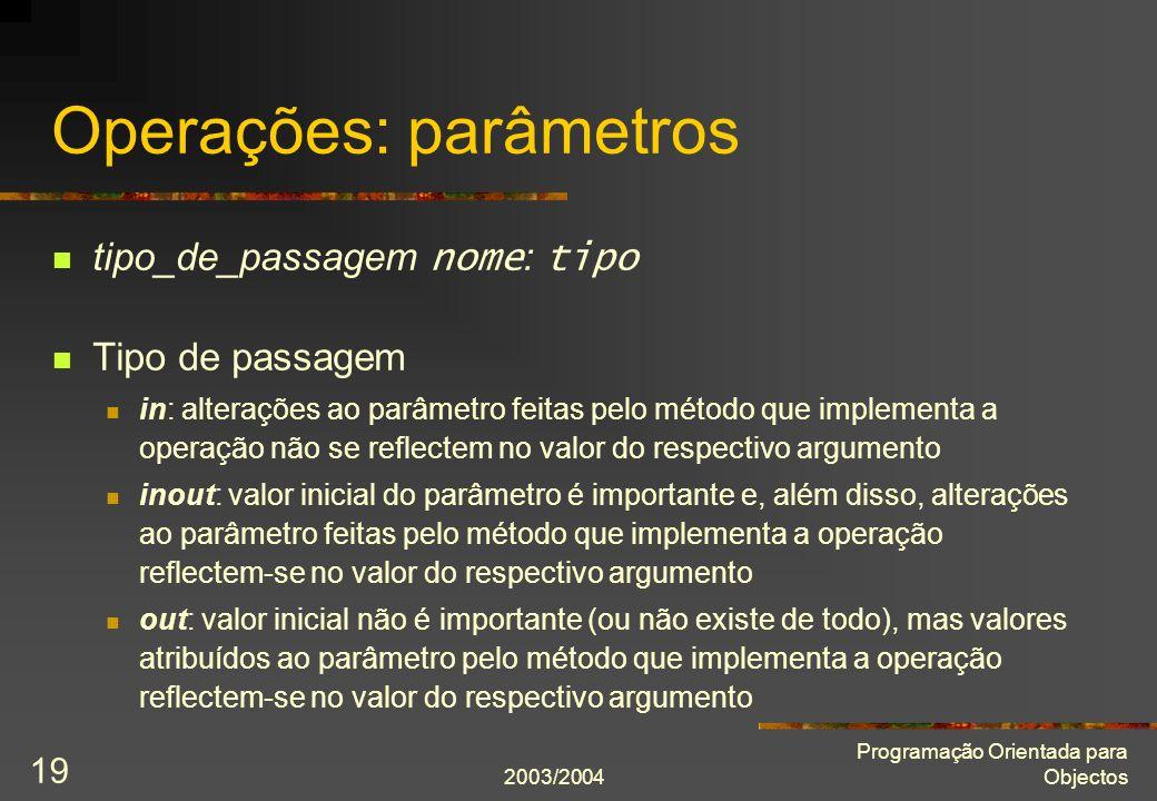 Operações: parâmetros