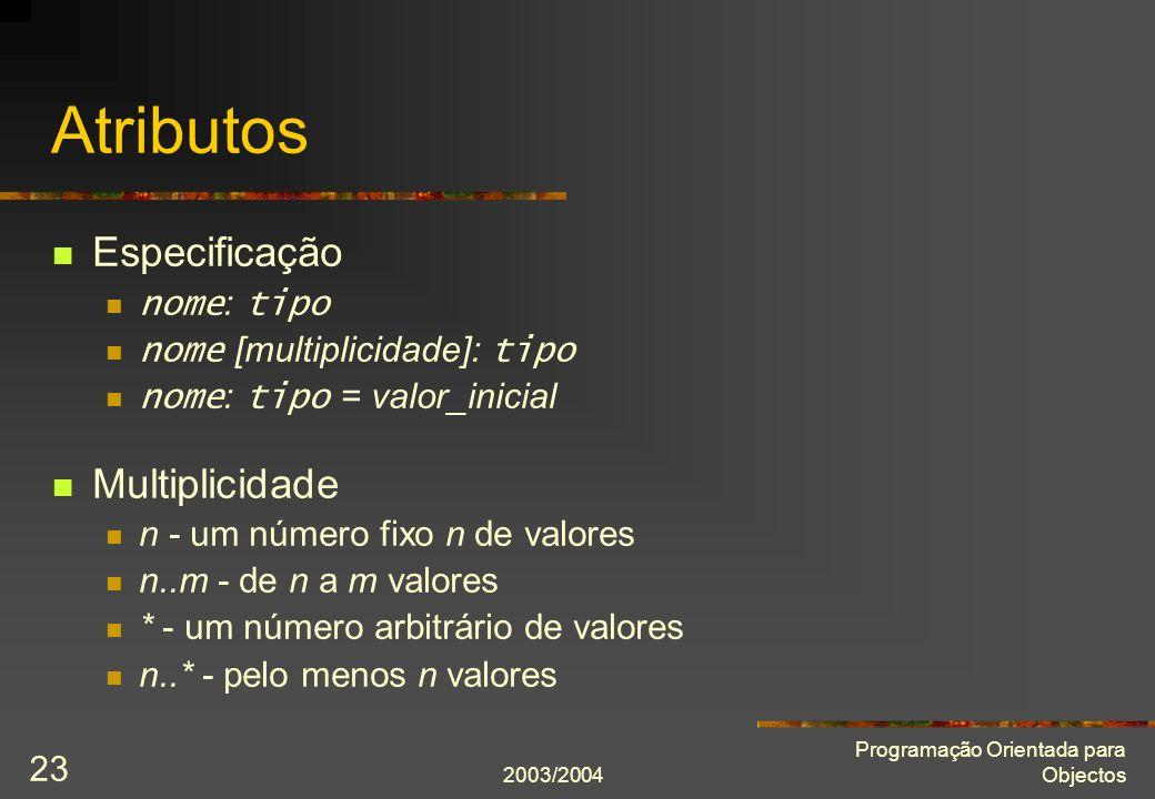 Atributos Especificação Multiplicidade nome: tipo