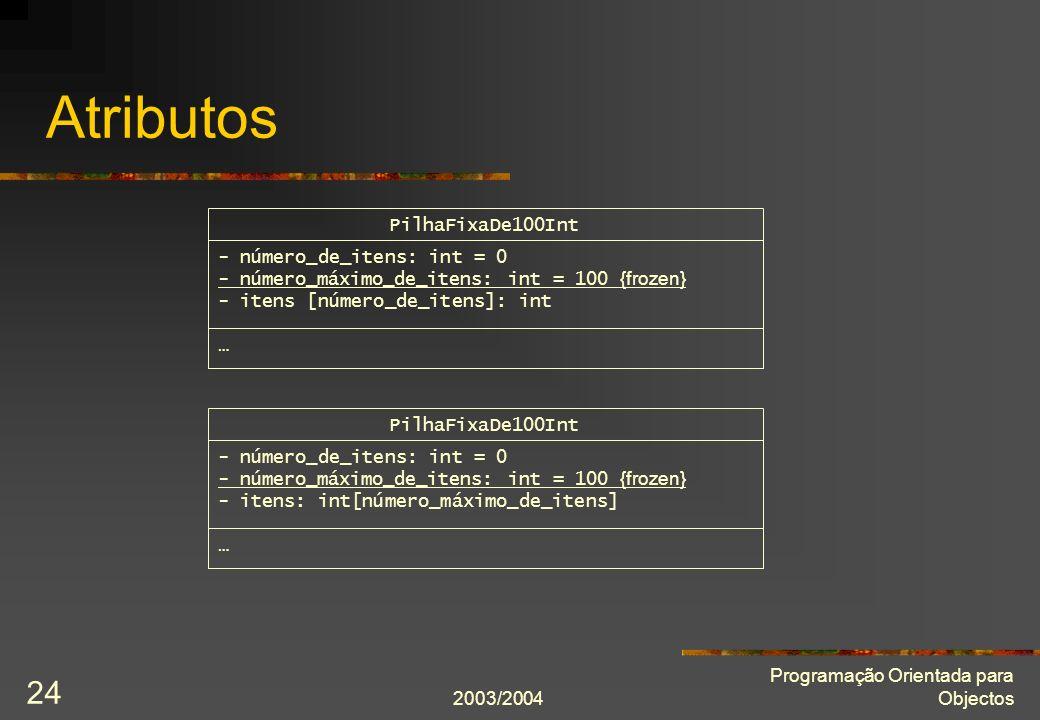Atributos PilhaFixaDe100Int - número_de_itens: int = 0