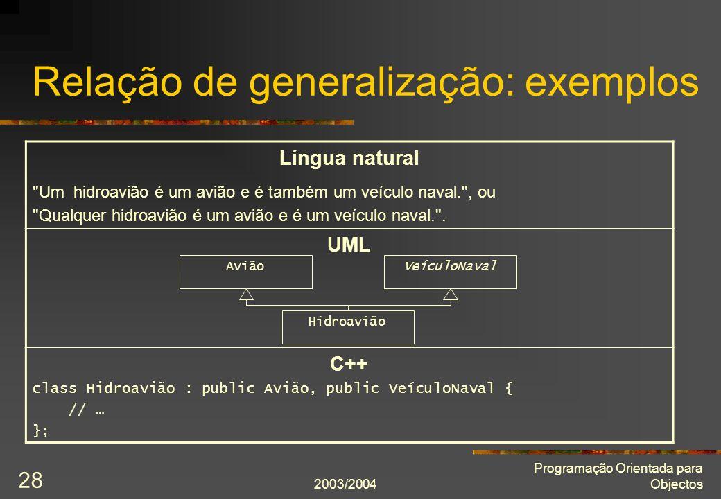 Relação de generalização: exemplos