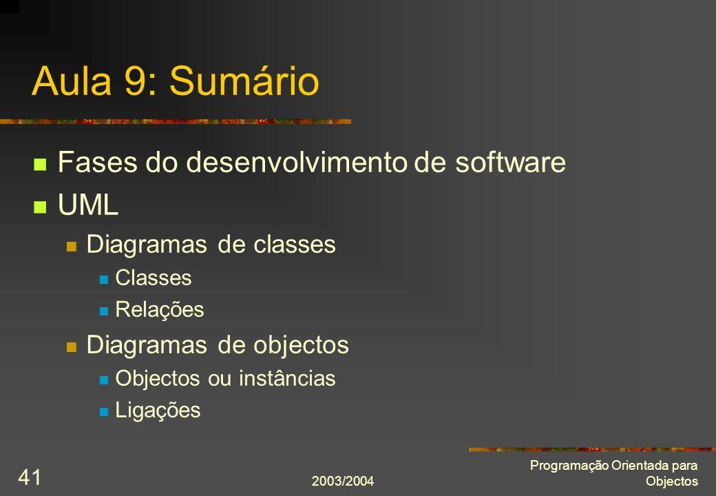 Aula 9: Sumário Fases do desenvolvimento de software UML