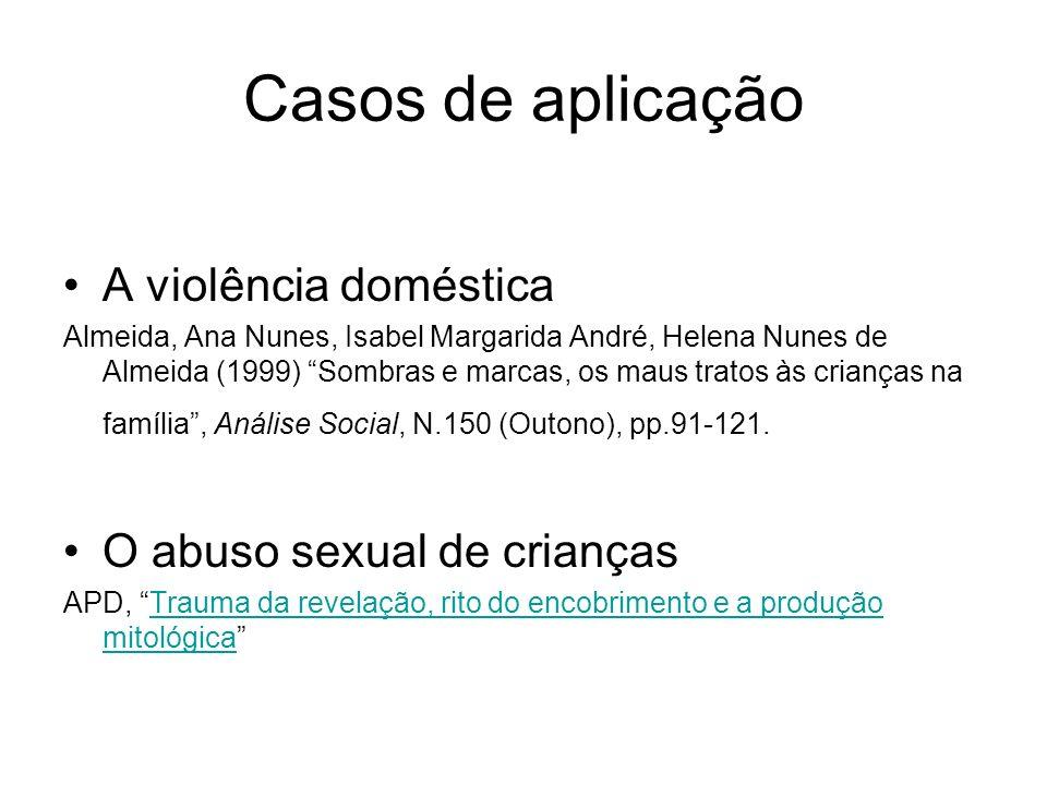 Casos de aplicação A violência doméstica O abuso sexual de crianças