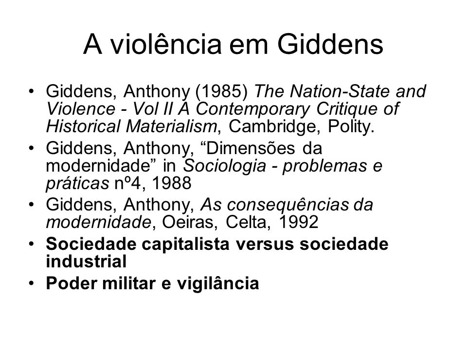 A violência em Giddens