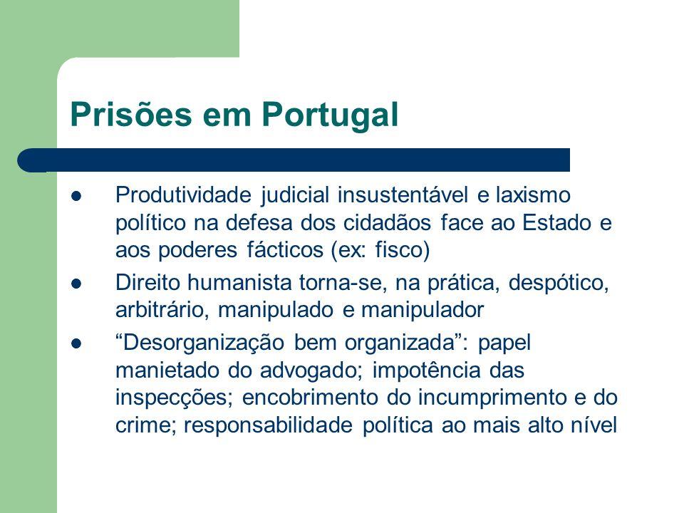 Prisões em Portugal Produtividade judicial insustentável e laxismo político na defesa dos cidadãos face ao Estado e aos poderes fácticos (ex: fisco)
