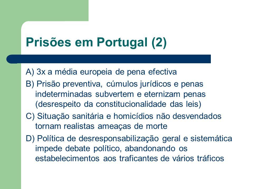 Prisões em Portugal (2) A) 3x a média europeia de pena efectiva