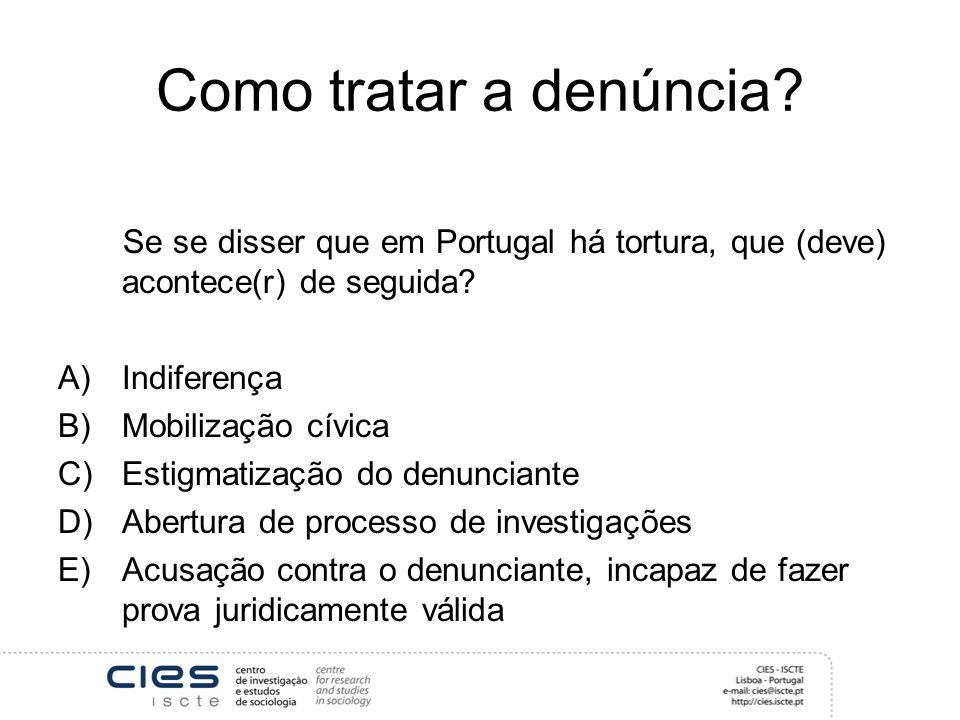 Como tratar a denúncia Se se disser que em Portugal há tortura, que (deve) acontece(r) de seguida