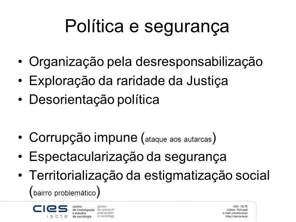 Política e segurança Organização pela desresponsabilização