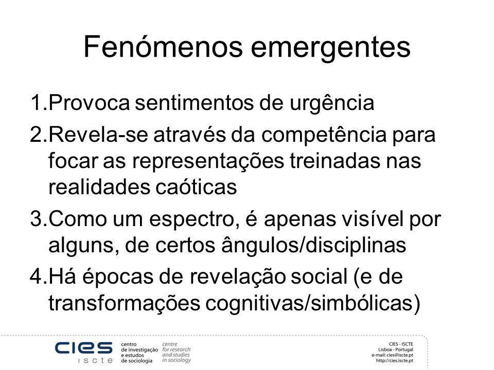 Fenómenos emergentes Provoca sentimentos de urgência