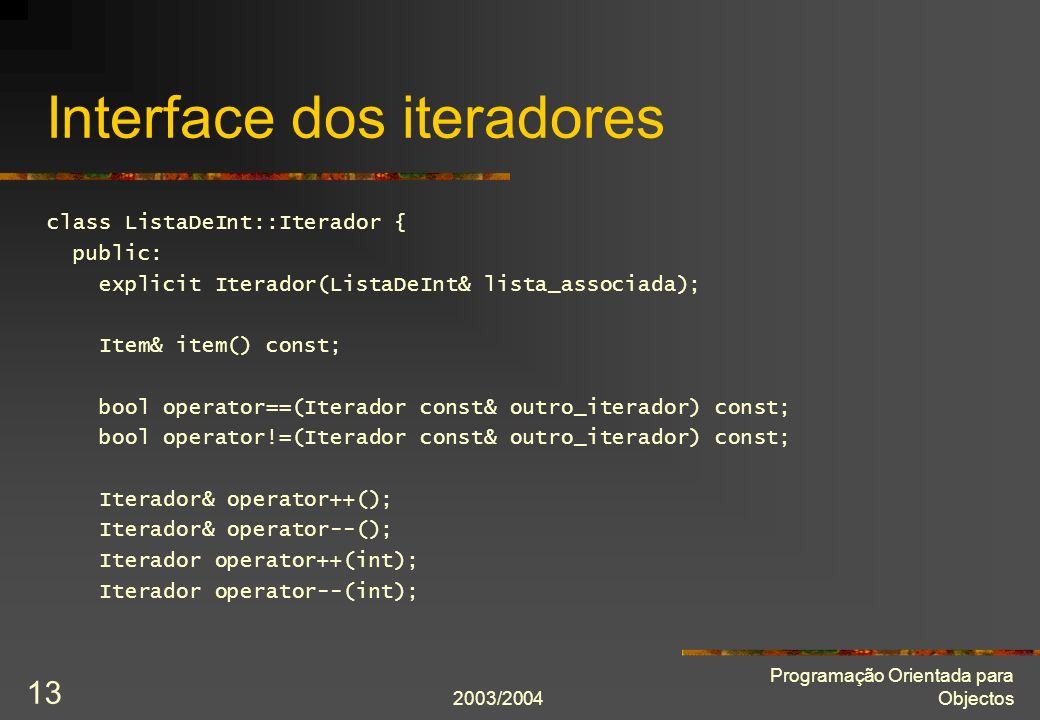 Interface dos iteradores