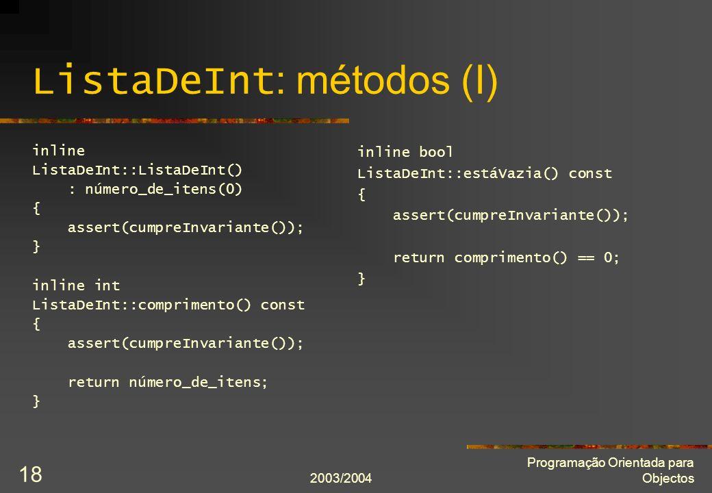 ListaDeInt: métodos (I)