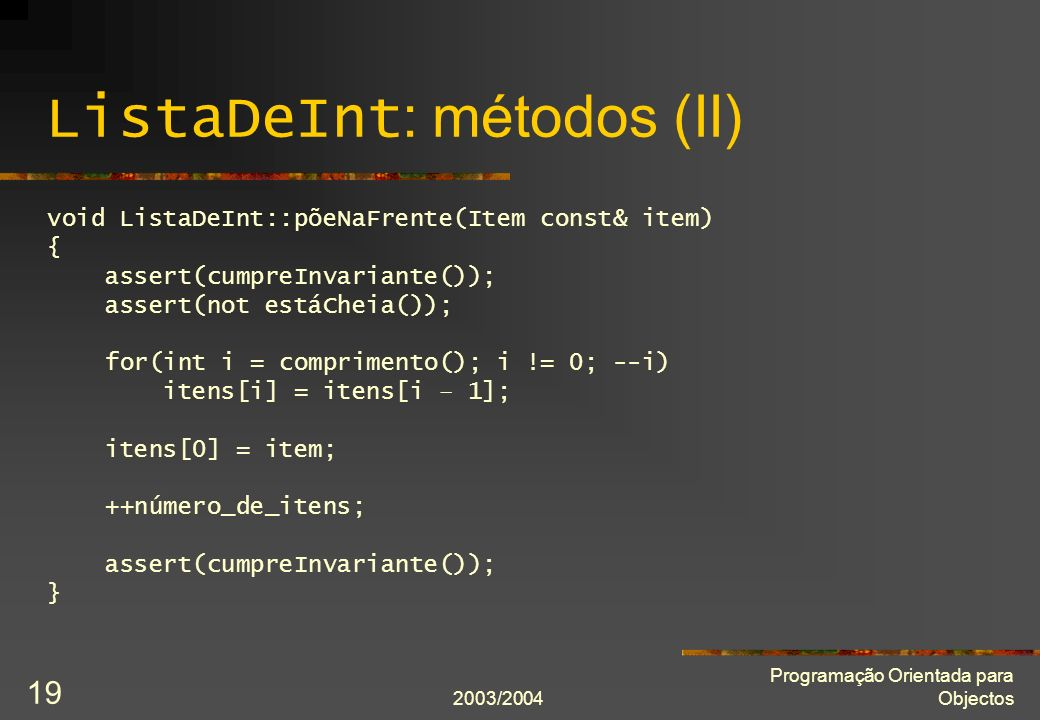 ListaDeInt: métodos (II)