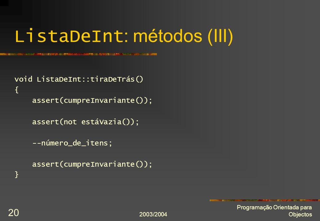 ListaDeInt: métodos (III)