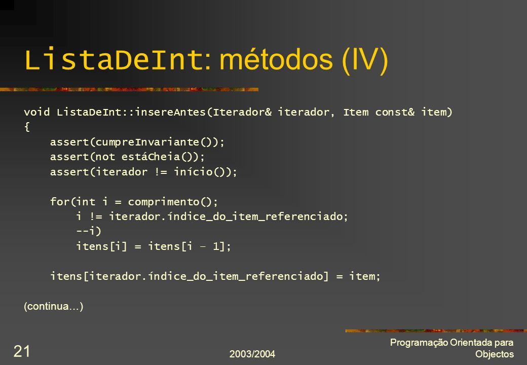 ListaDeInt: métodos (IV)