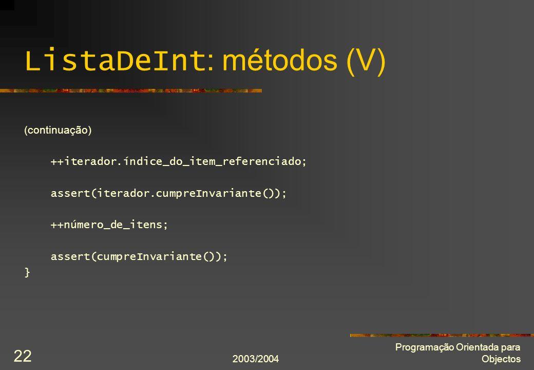 ListaDeInt: métodos (V)