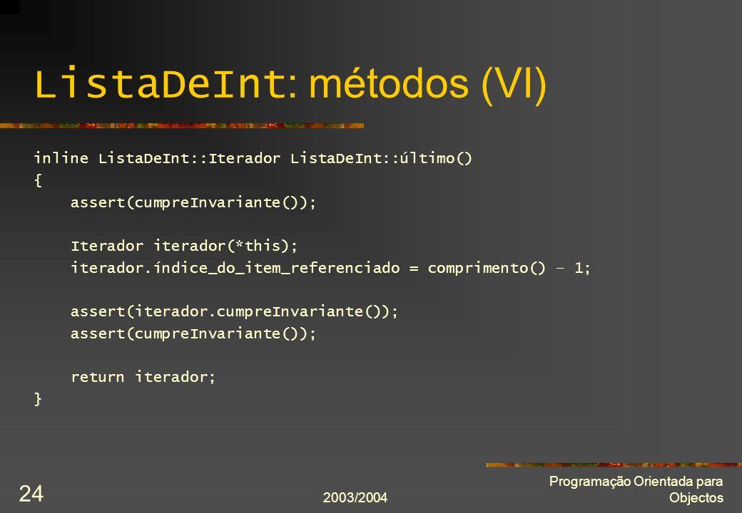 ListaDeInt: métodos (VI)