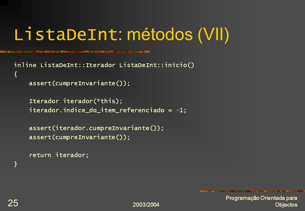 ListaDeInt: métodos (VII)