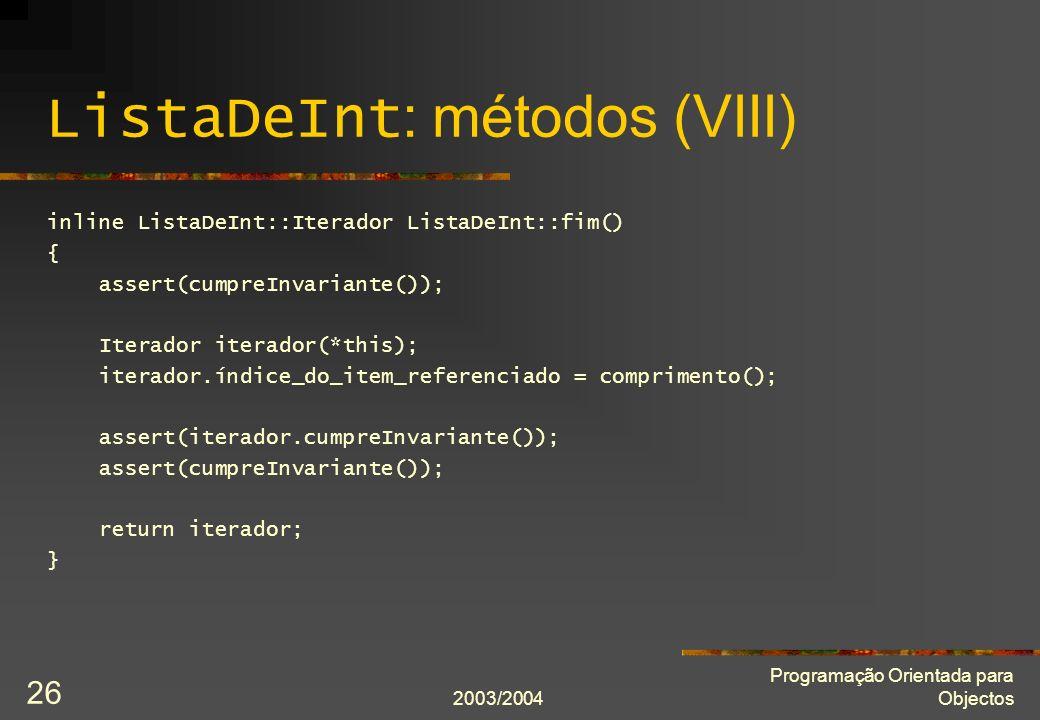 ListaDeInt: métodos (VIII)