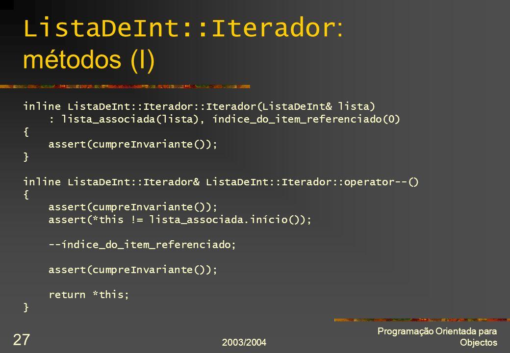 ListaDeInt::Iterador: métodos (I)