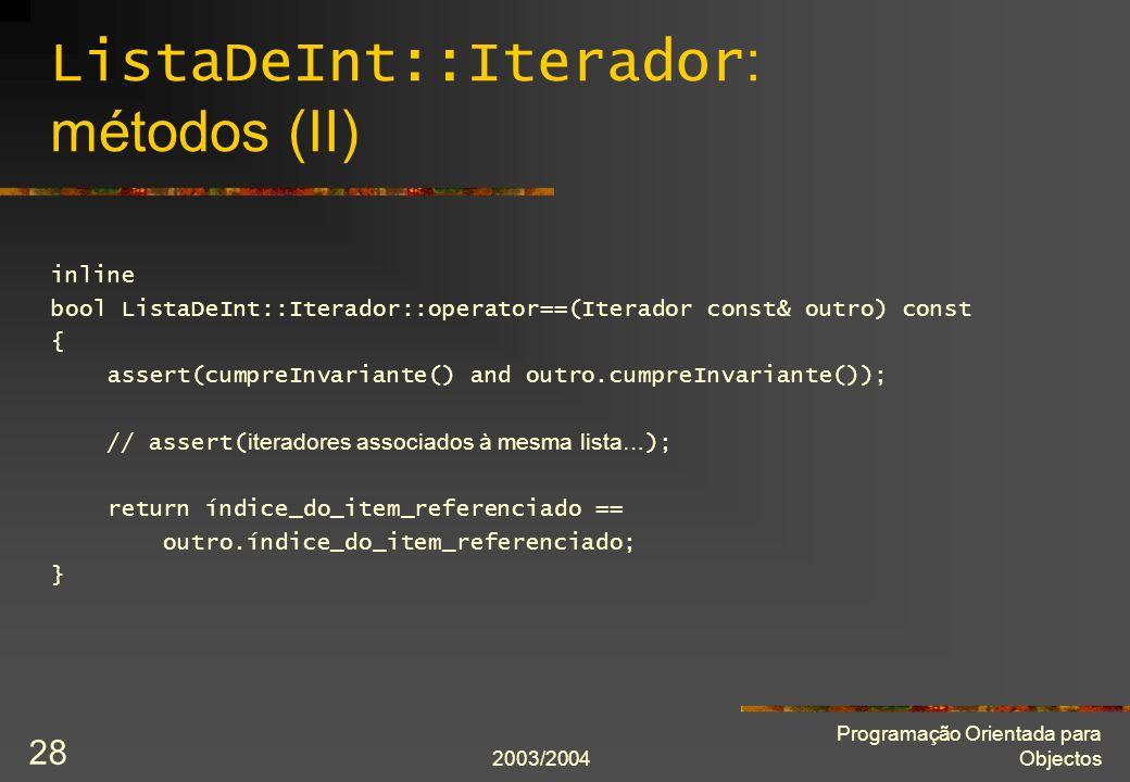 ListaDeInt::Iterador: métodos (II)