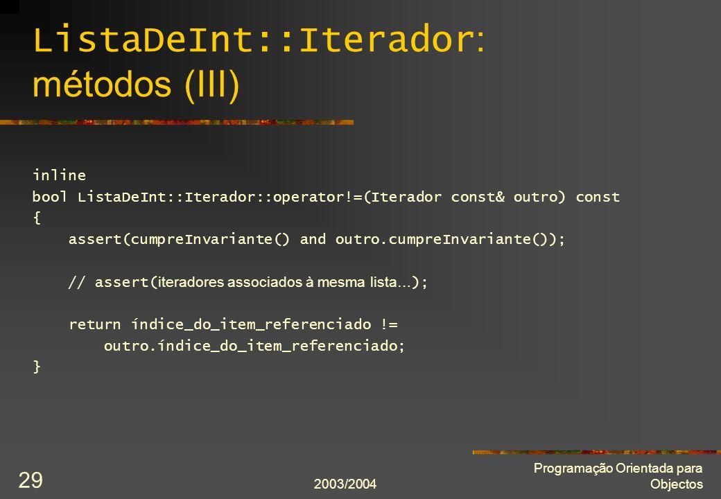 ListaDeInt::Iterador: métodos (III)