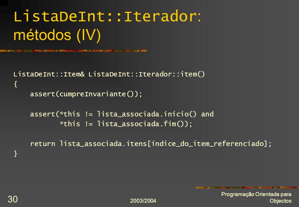ListaDeInt::Iterador: métodos (IV)
