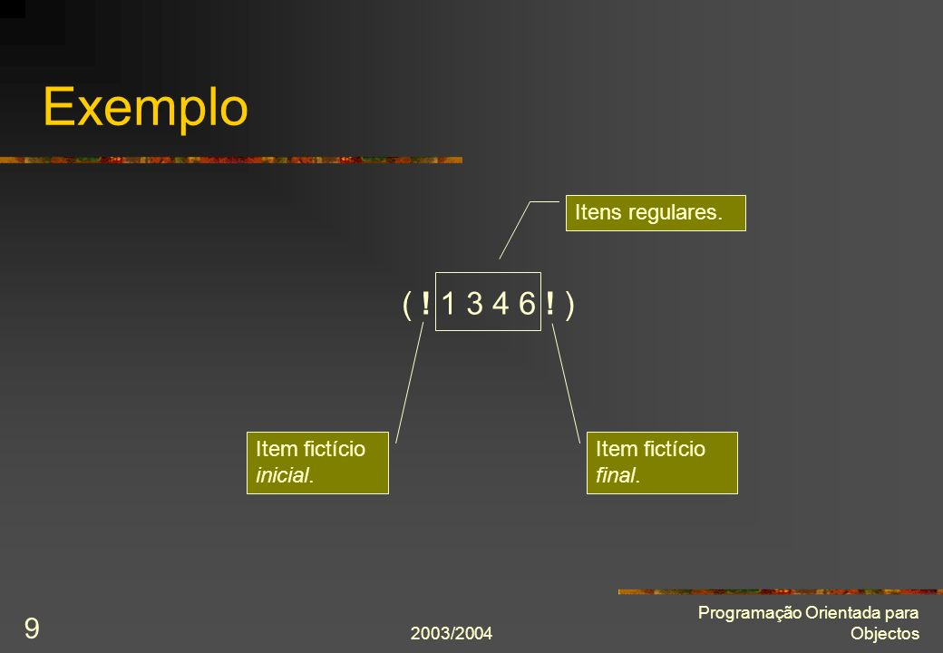 Exemplo ( ! 1 3 4 6 ! ) Itens regulares. Item fictício inicial.