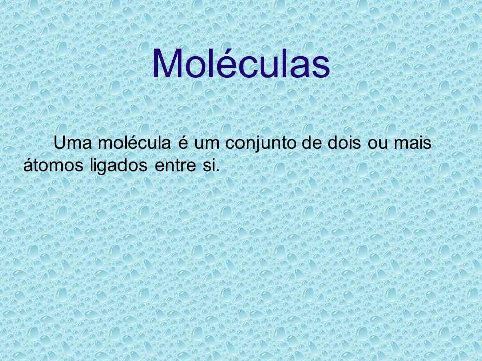 Moléculas Uma molécula é um conjunto de dois ou mais átomos ligados entre si.