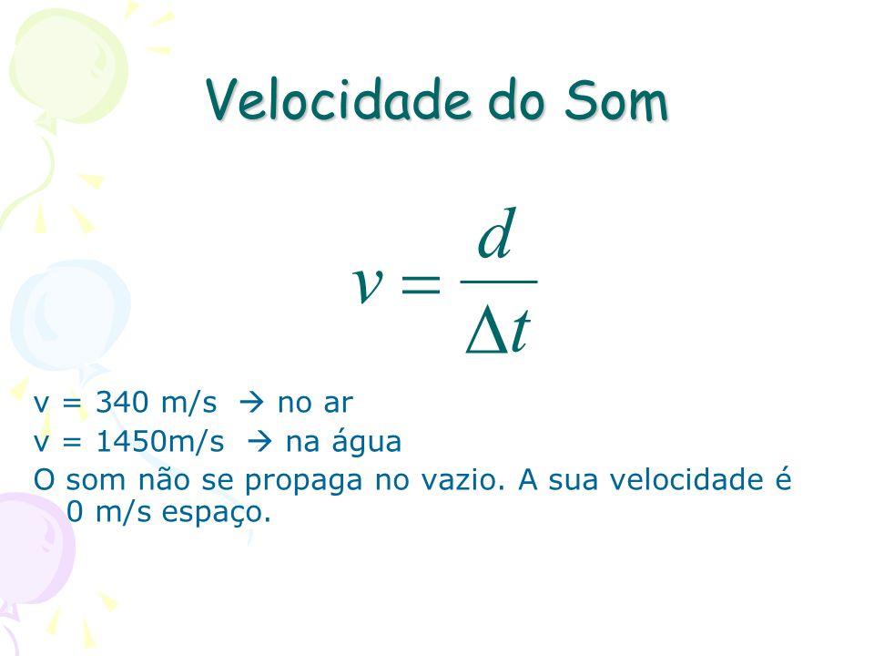 t d v D = Velocidade do Som v = 340 m/s  no ar v = 1450m/s  na água