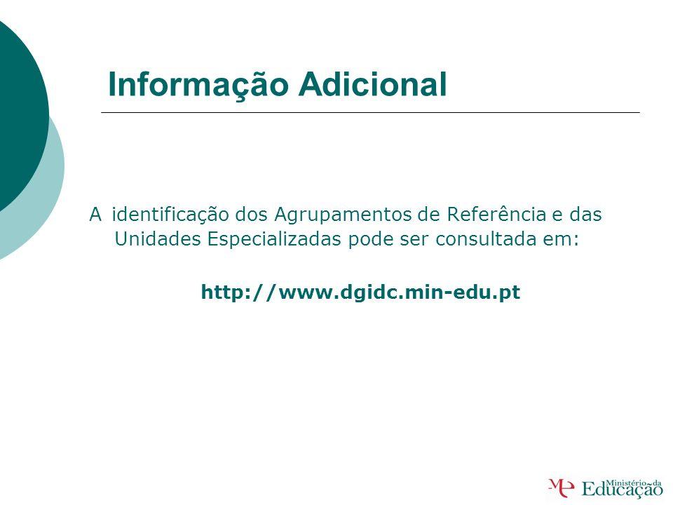 Informação Adicional A identificação dos Agrupamentos de Referência e das Unidades Especializadas pode ser consultada em: