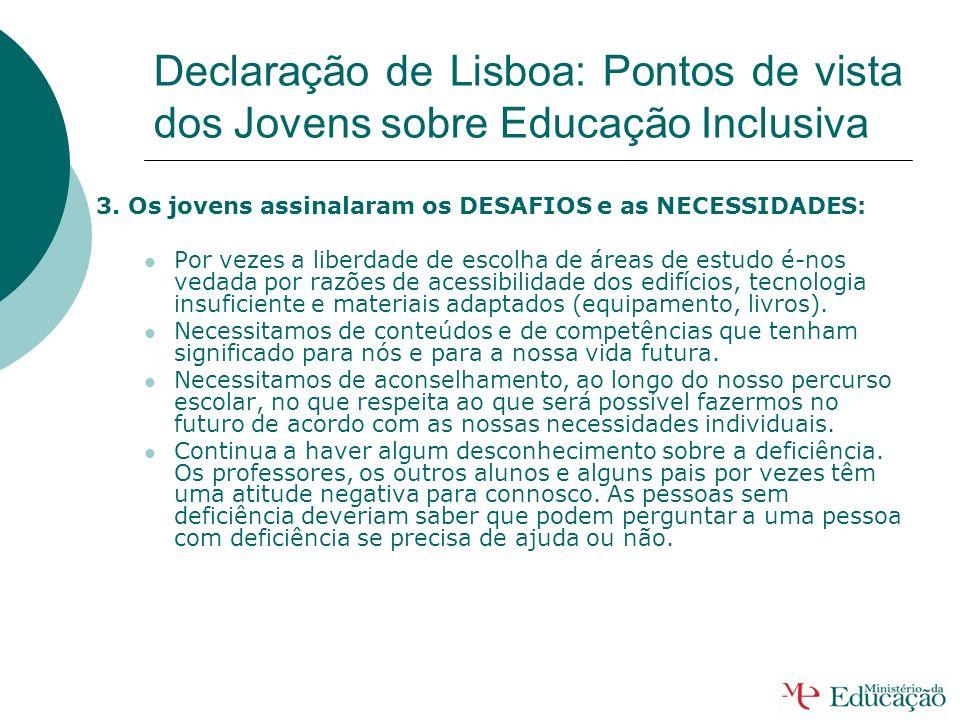 Declaração de Lisboa: Pontos de vista dos Jovens sobre Educação Inclusiva