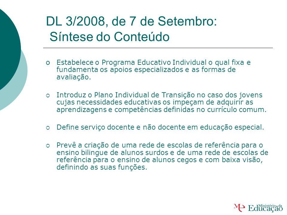 DL 3/2008, de 7 de Setembro: Síntese do Conteúdo