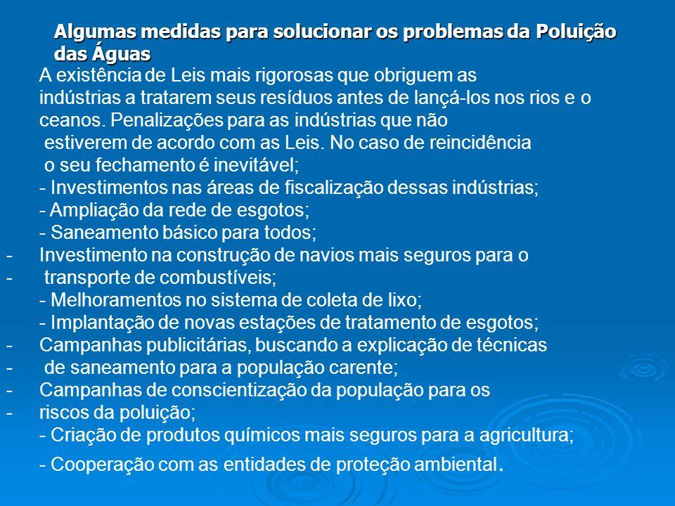 Algumas medidas para solucionar os problemas da Poluição das Águas