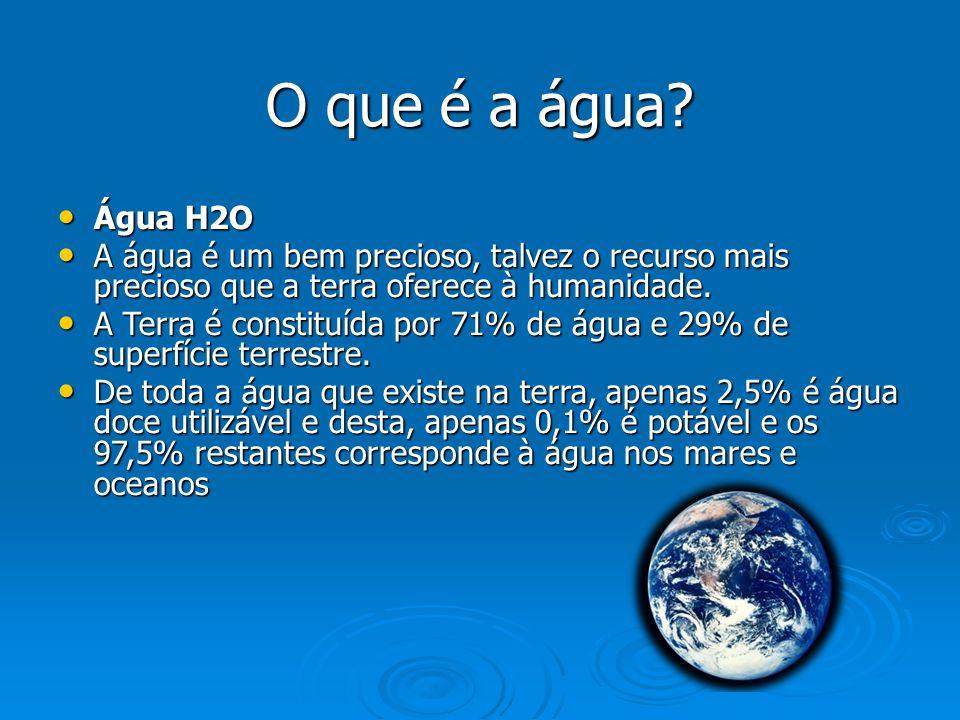 O que é a água Água H2O. A água é um bem precioso, talvez o recurso mais precioso que a terra oferece à humanidade.