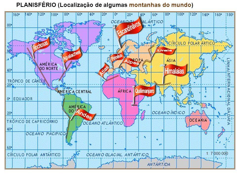 PLANISFÉRIO (Localização de algumas montanhas do mundo)