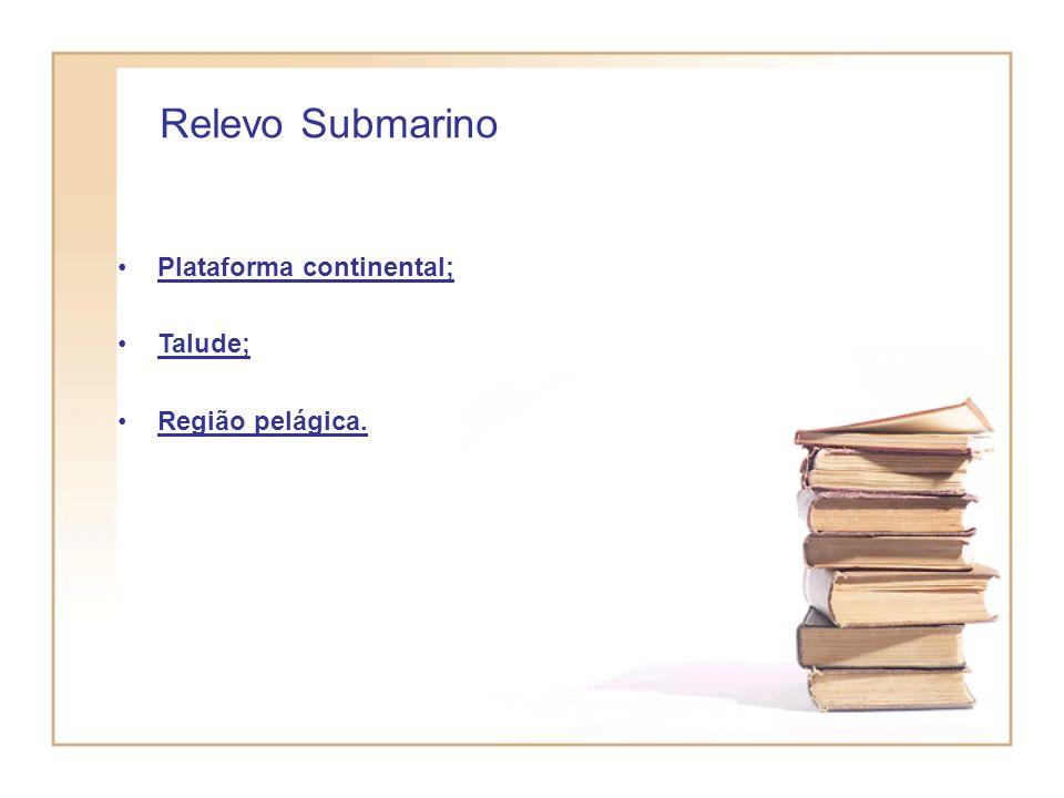 Relevo Submarino Plataforma continental; Talude; Região pelágica.