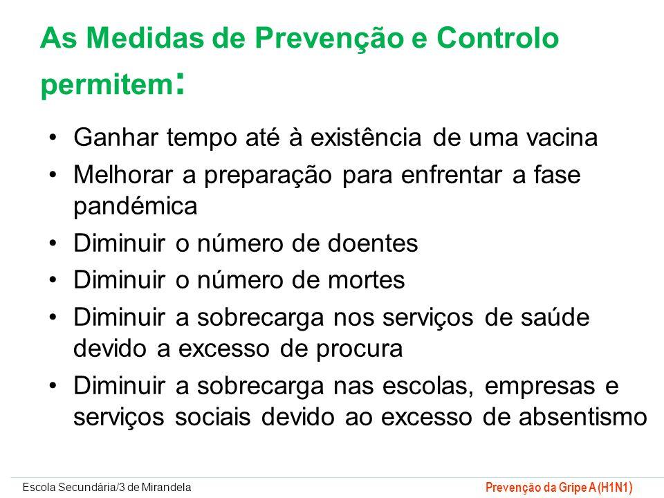 As Medidas de Prevenção e Controlo permitem: