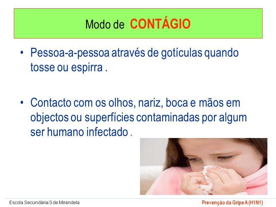 Modo de CONTÁGIO Pessoa-a-pessoa através de gotículas quando tosse ou espirra .