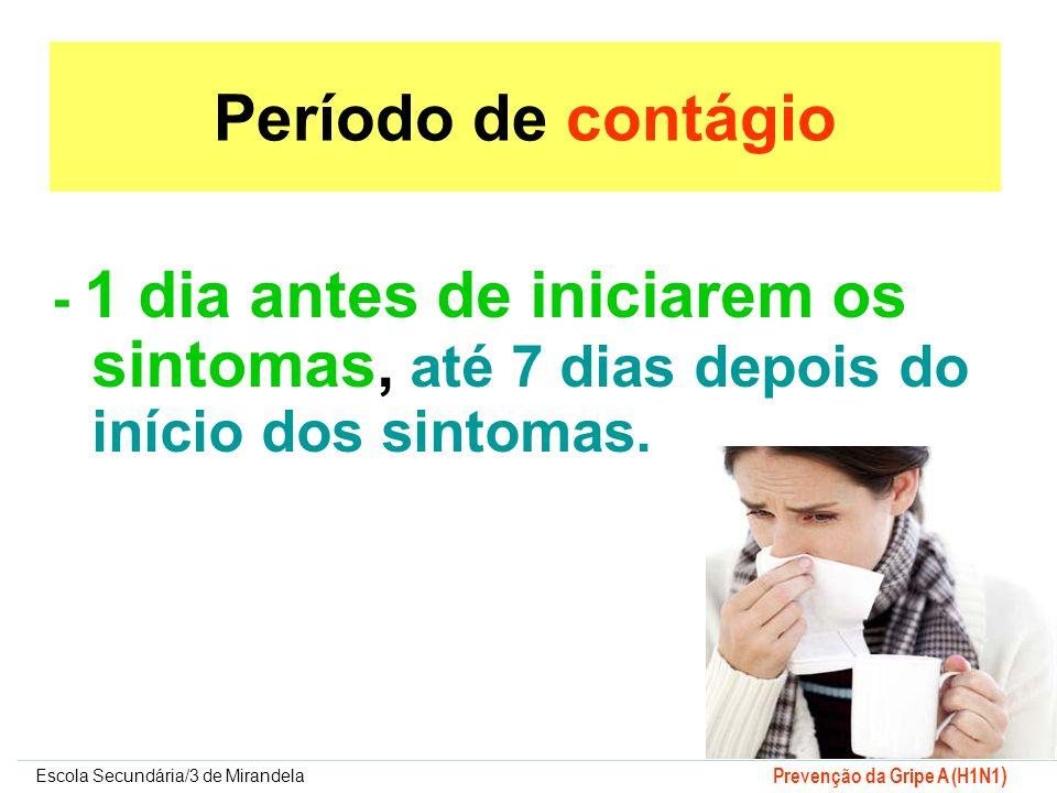 Período de contágio - 1 dia antes de iniciarem os sintomas, até 7 dias depois do início dos sintomas.