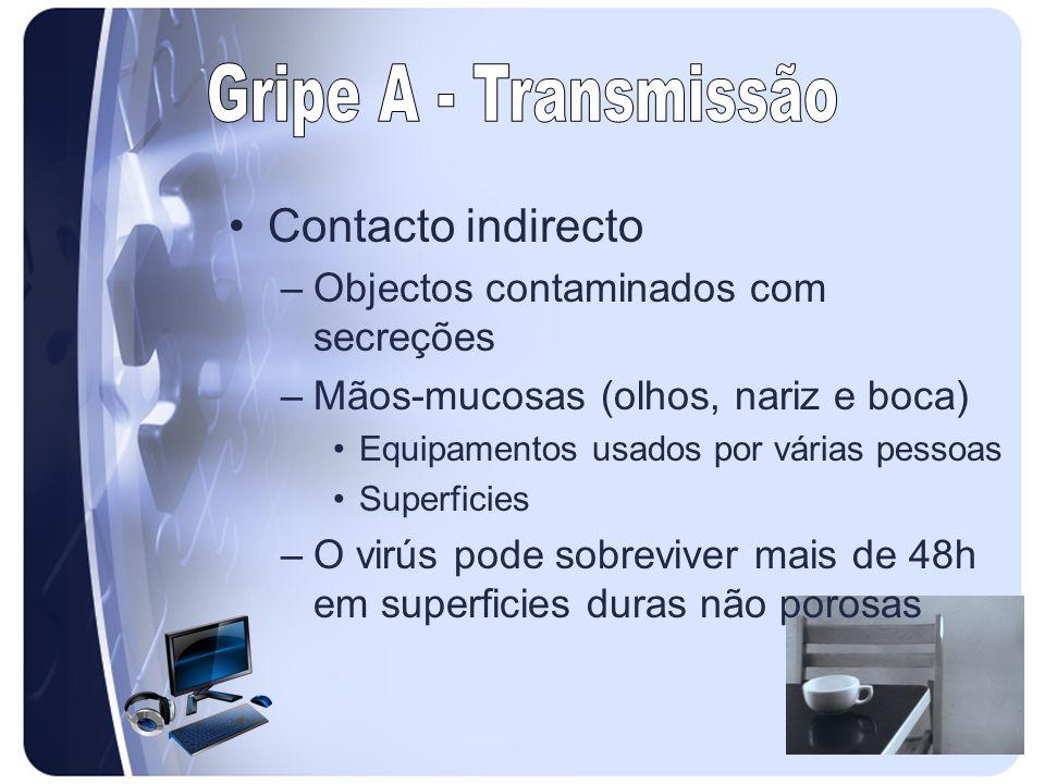 Gripe A - Transmissão Contacto indirecto