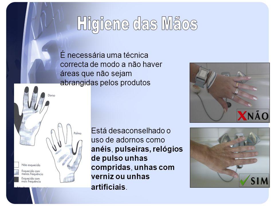 Higiene das Mãos É necessária uma técnica correcta de modo a não haver áreas que não sejam abrangidas pelos produtos.