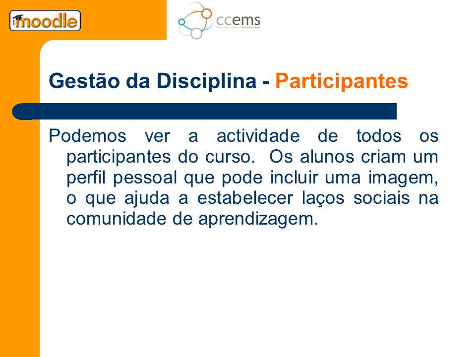 Gestão da Disciplina - Participantes