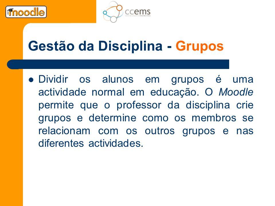 Gestão da Disciplina - Grupos