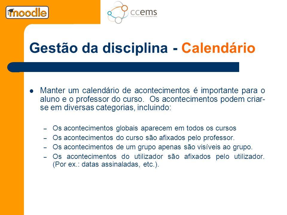 Gestão da disciplina - Calendário