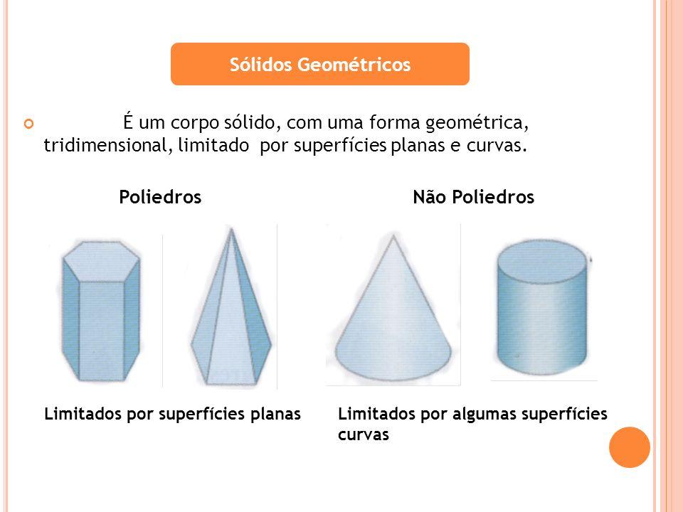 Sólidos Geométricos É um corpo sólido, com uma forma geométrica, tridimensional, limitado por superfícies planas e curvas.