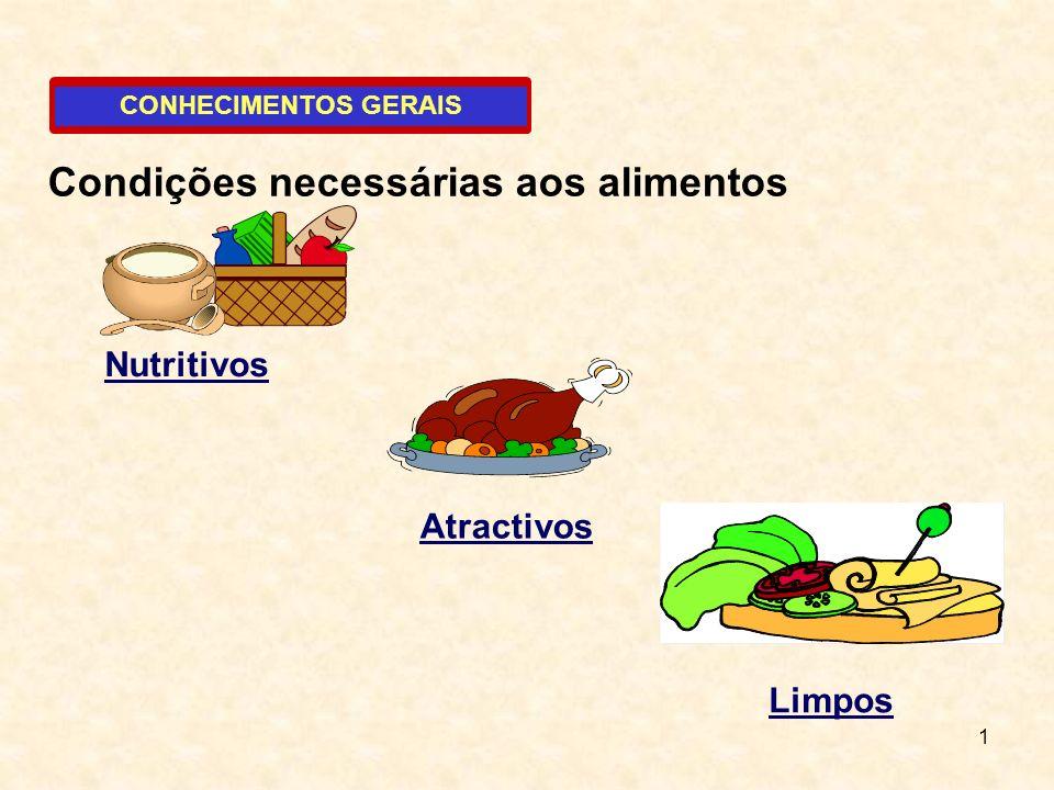 Condições necessárias aos alimentos