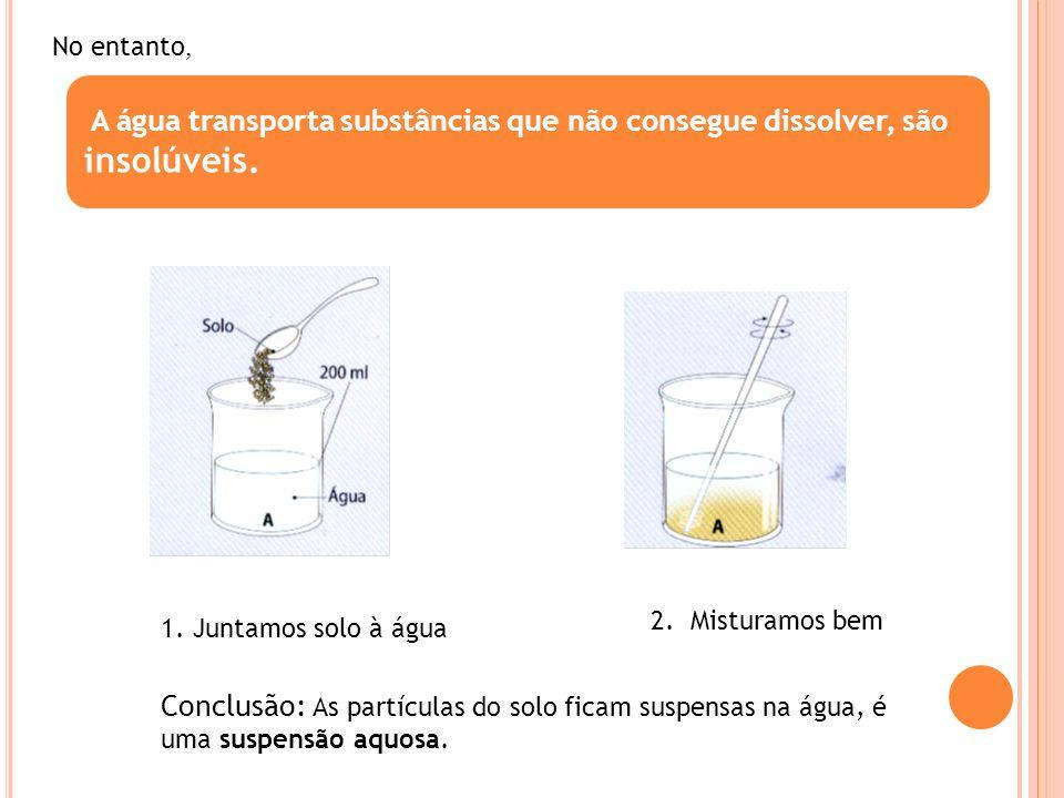 No entanto, A água transporta substâncias que não consegue dissolver, são insolúveis. 2. Misturamos bem.